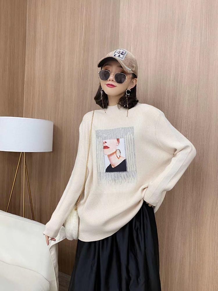 2020春季新款大码圆领针织衫镶钻印花宽松显瘦洋气针织毛衣
