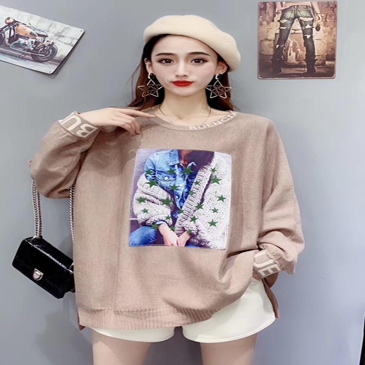 2020春季韩版大码女装圆领长袖印花套头百搭上衣1926