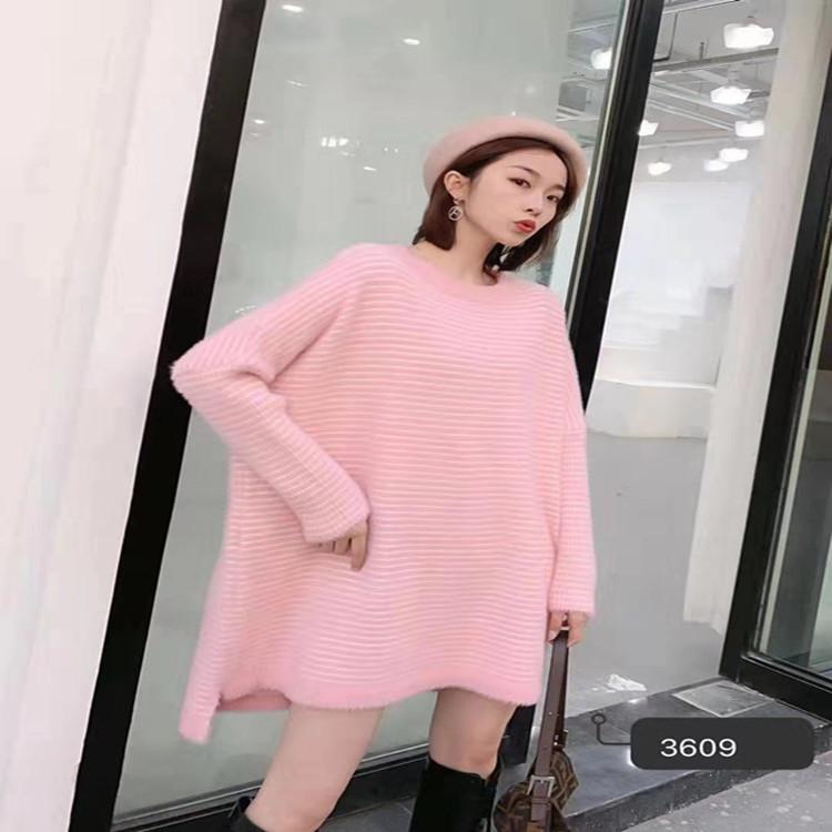 2020春季新品圆领宽松大码套头针织连衣裙3609