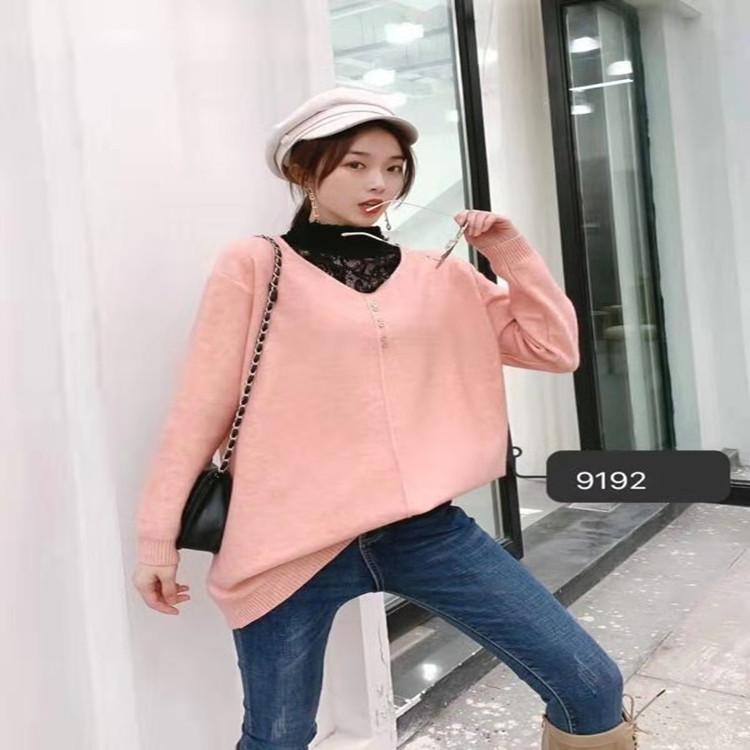 大码高领蕾丝领口日韩学院风胖MM女士加肥加大码少女毛衣9192