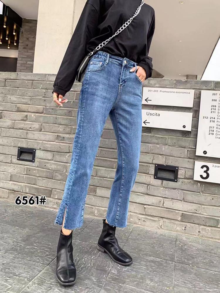2020春季新款大码胖mm直筒宽松显瘦阔腿八分牛仔裤蓝6561