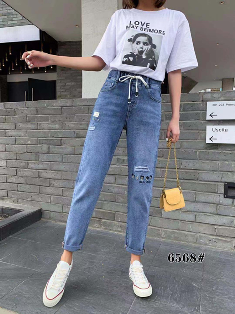 2019春季新款胖mm宽松显瘦松紧腰破洞刺绣牛仔裤蓝6568