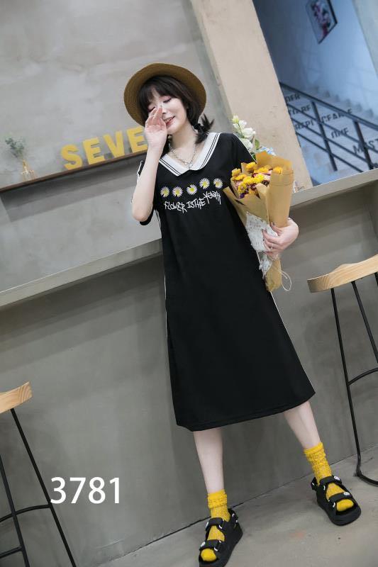 2020夏季新款大码女装胖mm遮肚减龄小雏菊娃娃领时尚连衣裙3781