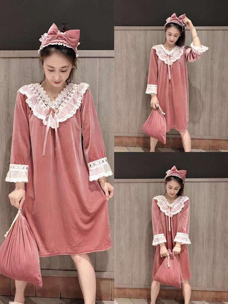 2019冬季大码新款金丝绒睡衣蕾丝网红款可爱公主风长款睡裙可外穿1223