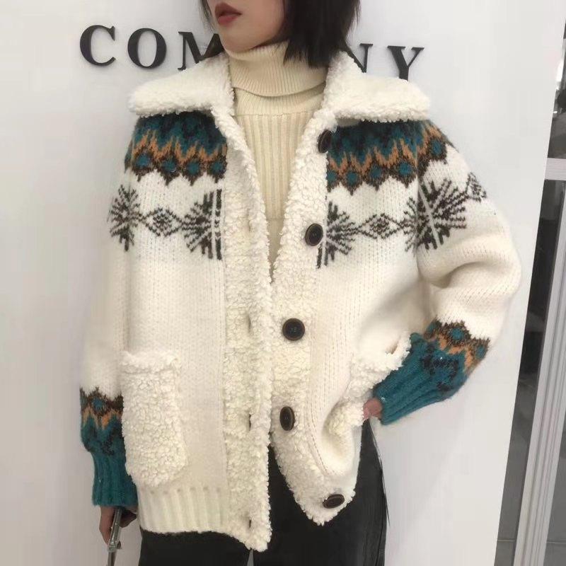 2019冬季大码新品韩版宽松加红色提花复古针织开衫外套5293