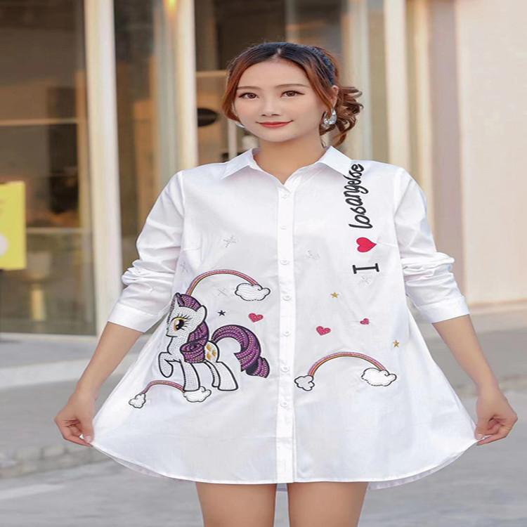 2020春季新款韩版修身显瘦时尚大码百搭加肥中长款衬衣7592