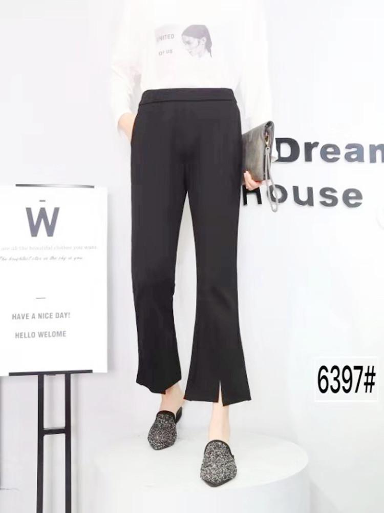 2020春季新款大码直筒宽松修身阔腿黑色显瘦休闲喇叭裤6397