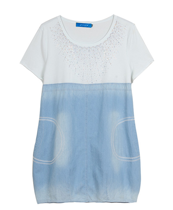 2014夏季新款爆款蓝底时尚加肥加大连衣裙99030