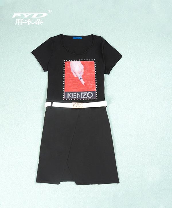 连衣裙772   三款颜色  时尚镶钻团案   2014夏季新款  加肥加大 时尚大码