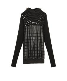 2014春装新款 时尚休闲经典黑色大码女装烫钻打底11075