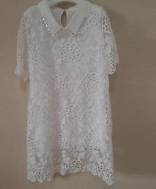 2014胖衣朵夏装新款上新 爆版长裙 绣花白色经典款838