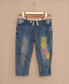 胖衣朵正品特大码加肥加大七分牛仔裤A623-2
