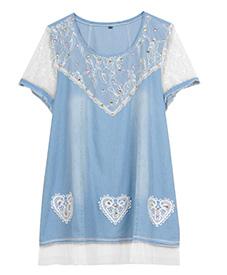 2014新款 胖衣朵正品 天蓝衣袖镂空时尚上衣A99023