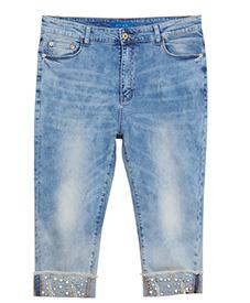 2014新款爆款 休闲舒适 加肥加大 特大码 牛仔七分裤A623-2
