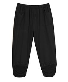 纯色七分裤850 裤口褶皱镶珠时尚范 2014新款 加肥加大 特大码女裤