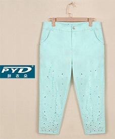镶嵌纯色七分裤68042    2014夏季新品  加肥加大  特大码胖衣朵女装