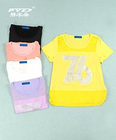 夏季T恤28060  胖衣朵正品   镶钻五色   2014夏季新款  面料舒适夏日必备