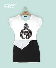 连衣裙036   美女头像图案   图案镶钻  上下假两件  2014夏季新品  加肥加大