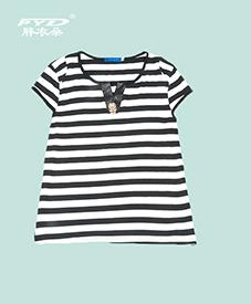 条纹T恤017    休闲时尚 加肥加大  2014夏季新款  胖衣朵正品