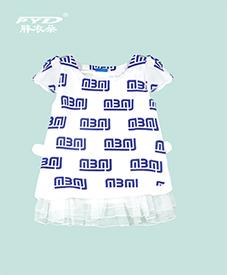 短袖上衣8001  裙摆纱网  蓝色花纹 2014夏季新款爆款  加肥加大