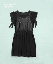雪纺连衣裙969  蓝黑两色  2014夏季爆款  加肥加大 时尚特大码