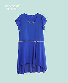 雪纺连衣裙933 蓝黑两色 圆领链条修饰 夏季胖MM必备 加肥加大