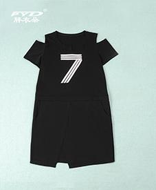 黑色七字连衣裙 肩口镂空 胸前数字图案 2014夏季新品 胖衣朵正品