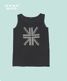 夏季背心 米字图案 黑白两色 高温烫钻 舒适得体 2014夏季新品