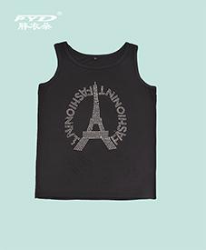 夏季背心 镶钻铁塔图案 黑白两色 2014夏季新款 胖MM必备