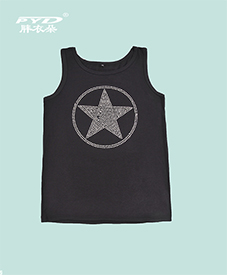夏季背心 镶钻五角星图案 黑白两款 真棉面料 2014夏季新款