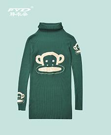 毛衣裙829 秋季新品 灰绿两色 大嘴猴图案 加肥加大 特大码