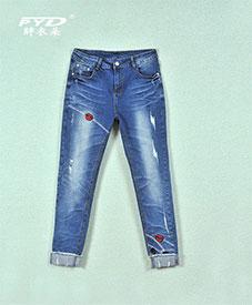 2014胖衣朵秋装新款时尚大码松紧腰围牛仔裤3001