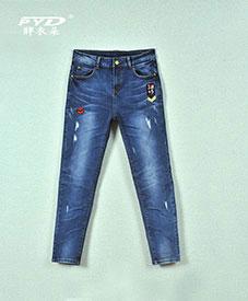 2014秋装新款时尚大码女装加肥加大 大码女装批发 时尚松紧腰牛仔裤3002
