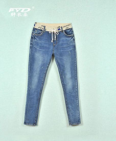 胖衣朵厂家直销 大码女装批发胖人服饰时尚大码女装批发松紧腰牛仔裤3301