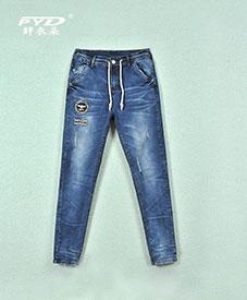 2014秋装新款时尚大码特大码韩版修身松紧带牛仔裤胖衣朵正品3303