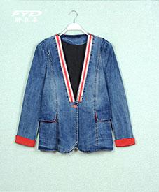 2014胖衣朵秋装新款时尚大码女装亮条红边牛仔外套开衫8993