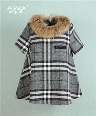 2014冬大码女装加肥加大特大版女220斤胖mm尼子大衣真毛领厚7055