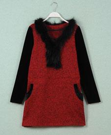 胖衣朵2014新款厂家直销大码女装打底衫真毛领1225