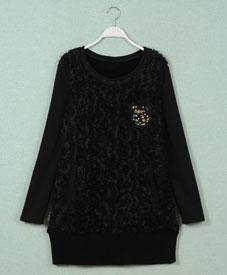 胖衣朵厂家直销14冬新大码女装加绒打底衫批发1209