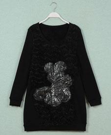胖衣朵冬装新款大码女装批发加肥加大长款加绒打底衫1210