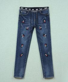胖衣朵正品加肥加大加绒水洗松紧腰牛仔裤8606