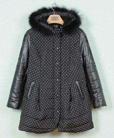 胖衣朵大码女装批发时尚修身外套开衫点点棉衣CF1101