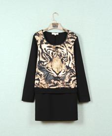 2014胖衣朵正品单层黑色豹纹中长款加肥加大胖妹妹时尚打底8959