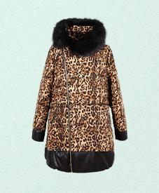 2014胖衣朵正品豹纹中长款加肥加大胖妹妹时尚棉衣8777A厂家直销