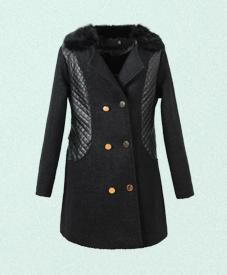 2014冬季新款胖衣朵 加肥加大胖mm时尚修身pu毛呢拼接黑色大衣48