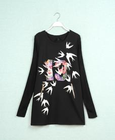 2014冬季新款印花时尚修身显瘦大码女装批发纯黑中长款打底CF1335