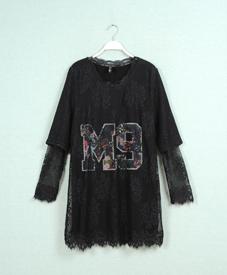2014冬季新款时尚大码女装胖mm修身镂空显瘦长款打底CF1317