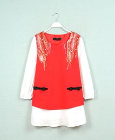 2015春季新款时尚修身显瘦红黑时尚韩版大码女装潮 厂家直销66023