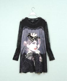 品牌大码女装厂家 时尚加肥加大码女装黑色蕾丝美女图中长款66017