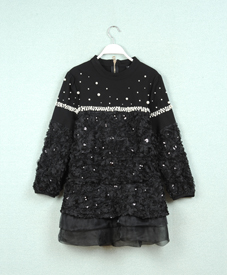 大码女装品牌网 时尚修身中长款缝珠亮片胖衣朵 特大码女装上衣